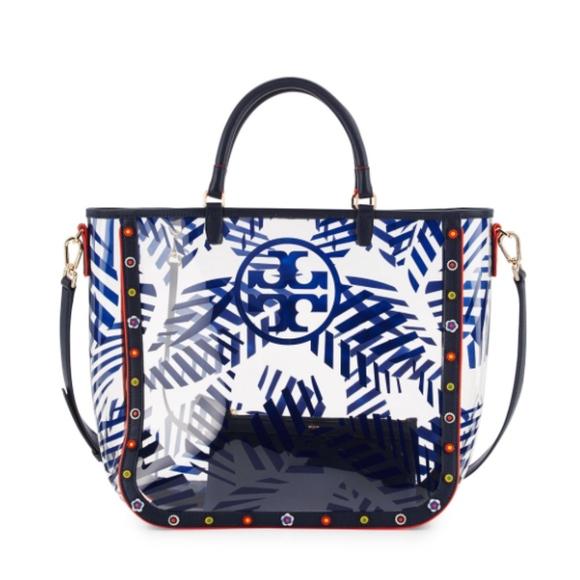 53134496852a Tory Burch Marguerite Palm-Print PVC Tote Bag. M 5b56739b2e1478df92be38bc
